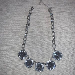 Silver large crystal statement necklace